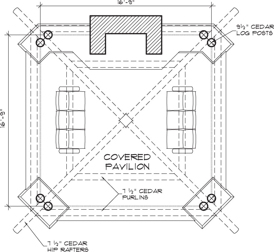 Bungalow outdoor gazebo structure backyard room design for Outdoor floor plan