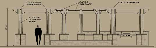Elevation for the luxury outdoor space the Amphitheater
