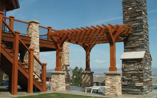Custom pergola as seen on the patio