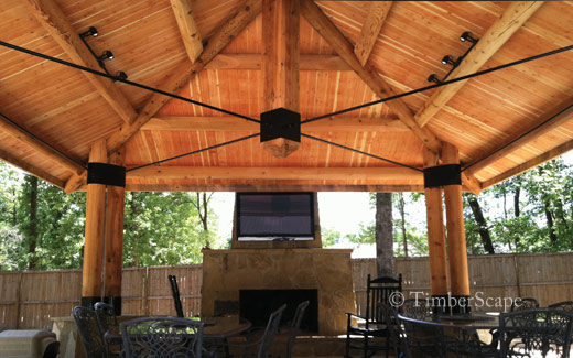 Custom log gazebo interior roof