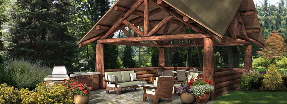 Pocono Log Pavilion Design Backyard Pavilion